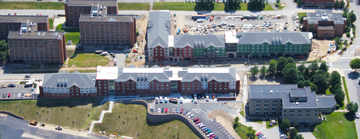 Birds-eye view of the Suites construction site