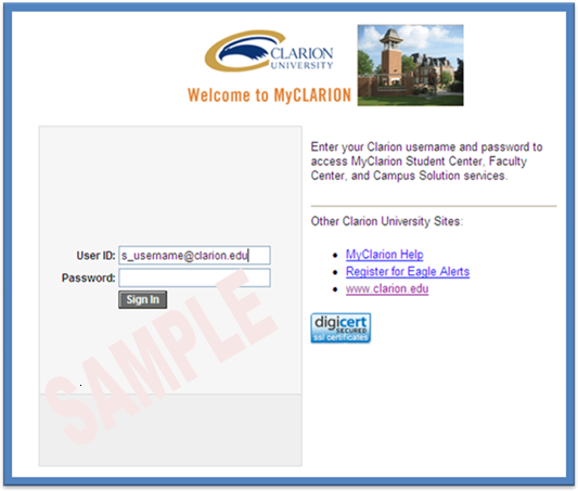 MyClarion Login Sample