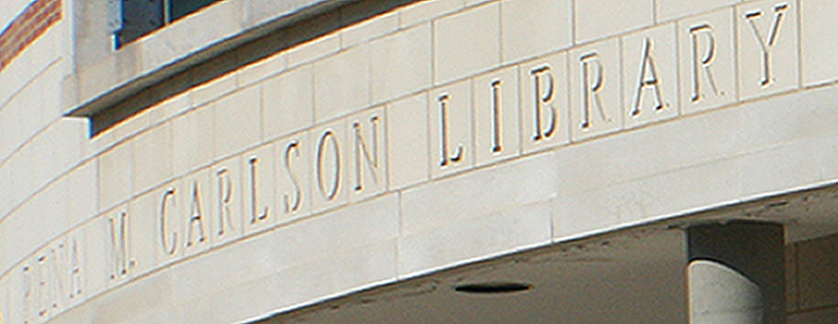 Carlson Library Engraved Over Entrance