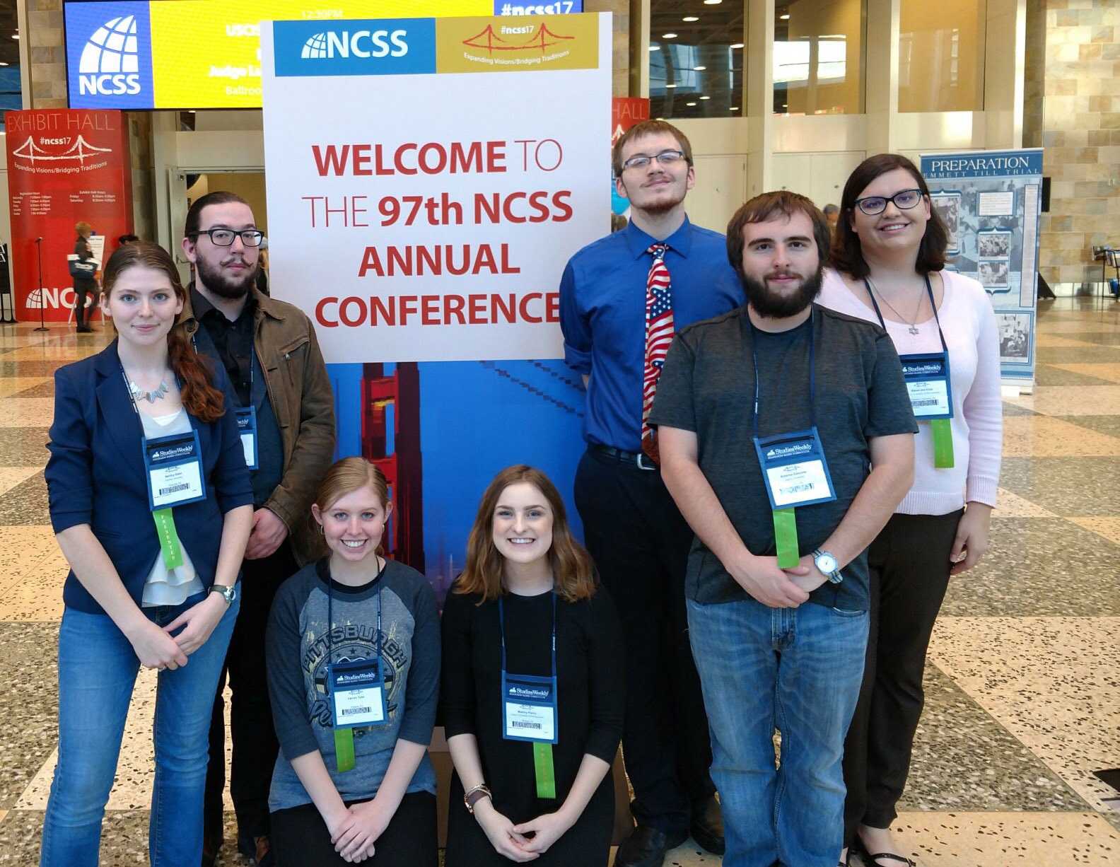 social studies students at conference