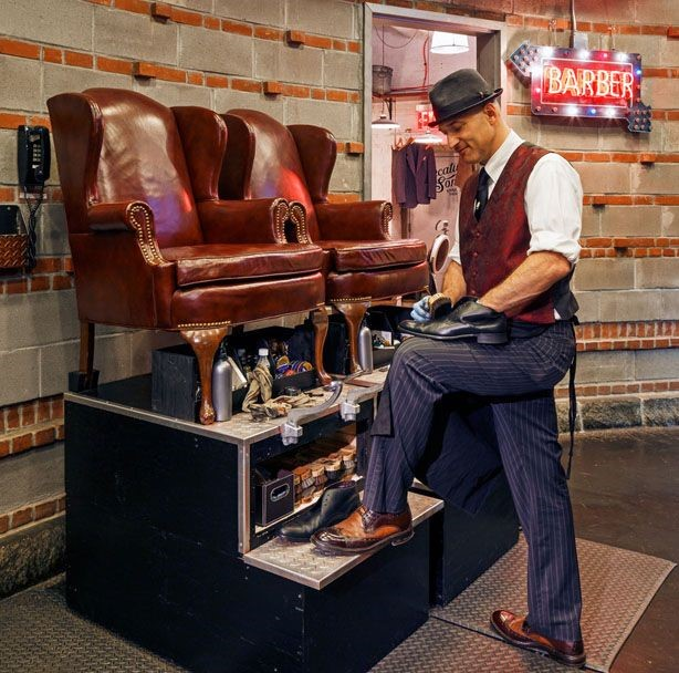 Kevin Tuohy with shoe shine equipment